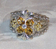 BARBARA BIXBY STERLING SILVER/18K GOLD CITRINE TOPAZ  FLOWER RING Size 8 (NEW)