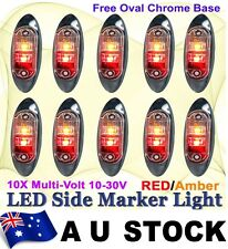 10 Red Amber Multivolt Side Light LED Marker Trailer Clearance Oval base AU SHIP