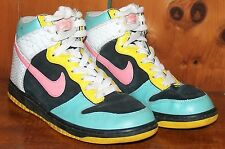vtg NIKE 6.0 High Top SNEAKERS Rainbow Colors Suede & snake print Leather 8 1/2