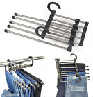 5 in 1 Stainless Steel Clothes Pants Slacks Trousers Jeans Organizer Hanger Rack