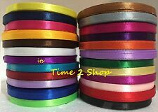 NEW 24 x 6MM 25 Yard Satin Ribbons Rolls ( 22 Metre ) Most Vibrant Solid Colours