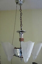 Antique Art Deco Chrome and Slipper Shade Chandelier