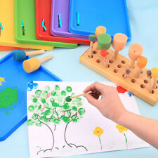 4 Pcs/set DIY Doodle Sponge Brush Wooden Handle Kids Painting Education