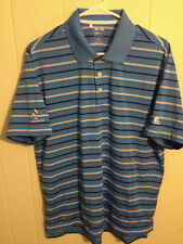 MENS ADIDAS CLIMALITE GOLF POLO SHIRT BLUE SHORT SLEEVE STRIPED POLYESTER MEDIUM