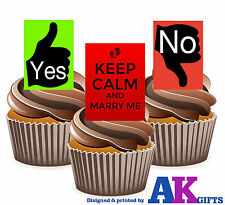 Keep Calm Marry me Yes/No Proposal Fun Mix 12 Edible Cup Cake Toppers Valentines