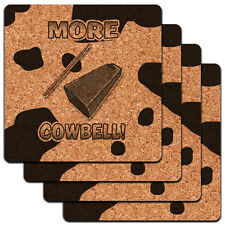 More Cowbell Funny Music Low Profile Cork Coaster Set