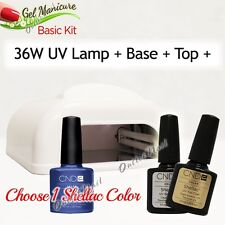 GEL MANICURE BASIC KIT: 36W UV LAMP PRO+Base Top +Choose 1 CND Shellac Color SET