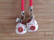 2 Japanese Maneki Neko fortune lucky cat ceramic cell phone purse charms