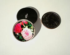 Pink Roses Glass Dome Button handcrafted collectible shank silver tone