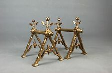 Antique English Regency Brass Fireplace Fire Tools Rest Holder early 19th c.