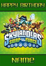Skylanders inspiré ** personnalisé Carte Anniversaire ** swap force tout nom A5 (sl3)