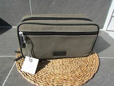 Men's Fossil Double Zip Durable Canvas Leather Trim Shave Kit  Olive and Black