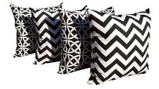 Black Geometric Outdoor Pillows, Black and White Outdoor Throw Pillows  Set of 4