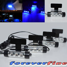4pc Blue LED Car Charge DC 12V Glow Interior Floor Decorative Atmosphere Lights