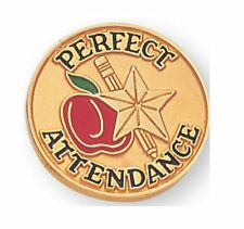 "PERFECT ATTENDANCE PIN 3/4"" DIE STRUCK ENAMELED PIN WITH GOLD PLATING"