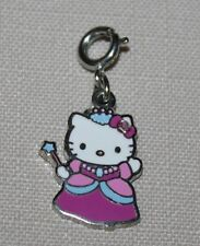Hello Kitty Princess Charm Pink Enamel Gown Silverplate Wand Spring Clasp New