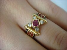 18K YELLOW GOLD ANTIQUE HAND MADE RING WITH RUBY & WHITE SAPPHIRES 5.1 GRAMS