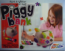 Paint your own Piggy Bank Money Box Kit With Paint & Brush & Glitter Glues