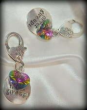 Never Give Up Multi-Color Faceted Heart Charm