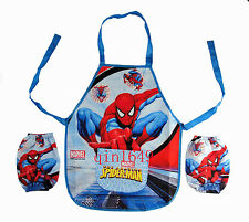 New Spiderman Childrens Kids Cartoon With Apron Sleeves Set