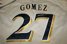 CARLOS GOMEZ AUTOGRAPHED AUTO SIGNED MILWAUKEE BREWERS JERSEY GREY COA