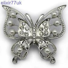 Nueva Plata Mariposa Perla Broche Diamante Cristal abordar Wedding Bridal Regalo del Reino Unido