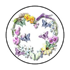 """48 Butterfly Heart!!!  ENVELOPE SEALS LABELS STICKERS 1.2"""" ROUND"""