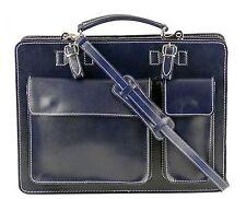 College Leder Tasche Aktentasche Lehrertasche Schultasche Vintage Dunkelblau