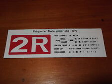 TOYOTA CORONA 1968   1970 2R REPRODUCTION ENGINE DECAL, Firing order 1-3-4-2