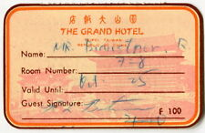 "Vintage Hotel Guest Credit Card: ""THE GRAND HOTEL"" (Taiwan)"