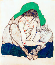 Crouching Woman with Green Headscarf by Egon Schiele A1 High Quality Art Print