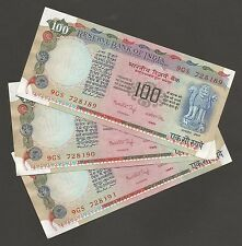 ~~ Rs.100/- Dr.Manmohan Singh ~ G39 x 3 Consecutive Notes ~ UNC ~~