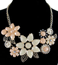 Chic Women's Crystal Resin Flower Collar Necklace Bib Statement Pendant Gift For