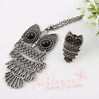 Ancient Silver Plated Vivid Owl Necklace And Ring Set 1