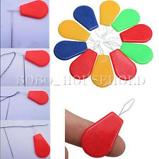 10X Plastic Bow Wire Needle Threader Stitch Insertion Tool Hand Machine Sewing