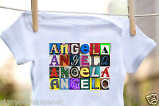 ANGELA Baby Bodysuit in Sign Letter Photos - 100% Cotton & Short Sleeve