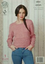 KNITTING PATTERN Ladies Long Sleeve Round Neck Cable Jumper Aran KC 4433