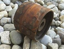 "Vintage Antique Industrial Factory Steampunk 9"" Leather Wooden Metal Gear Wheel"