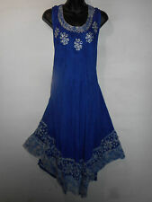 Dress Fits XL 1X 2X Plus Sundress Blue Black Batik Long Tunic A Shaped NWT 5009