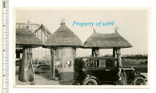 1920's PHOTO~CONSTRUCTION WINDMILL FILLING STATION THATCHED ROOF SHELL GAS PUMPS