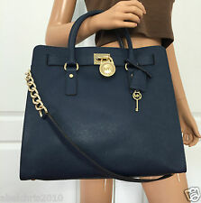 Michael Kors Hamilton Large Saffiano Leather Tote Shoulder Navy Blue Bag Purse