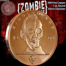 """Abe Lincoln"" Z-Note 1 oz .999 Copper Round ApocalypeZe Zombie Series"