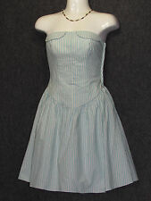 BETSEY JOHNSON White Turquoise Strips Strapless Corset Dress SZ 0 NEW