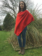 Cashmere Poncho in Deep Holly Berry Red, One Size Fits All, FREE UK Shipping