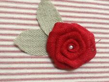 Red Burlap Rose Flower with Green Leaves Rustic Venue Outdoor Wreath Table