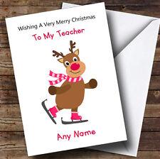 Teacher Cartoon Reindeer Personalised Christmas Card