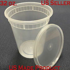 240 Sets Deli Food Round Containers Soup Cup Plastic 32 oz. (with Lids)