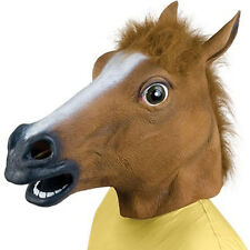Creepy Horse Mask Latex Cosplay Animal ZOO Halloween party Costume Theater Prop