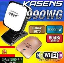 ADAPTATEUR WIFI 6000MW KASENS 990WG ANTENNE 60 DBI 6W ENVOI EN PROVENANCE