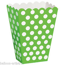 8 GREEN White Polka Dot Spot Style Party Paper Loot Treat Favour Bags Boxes
